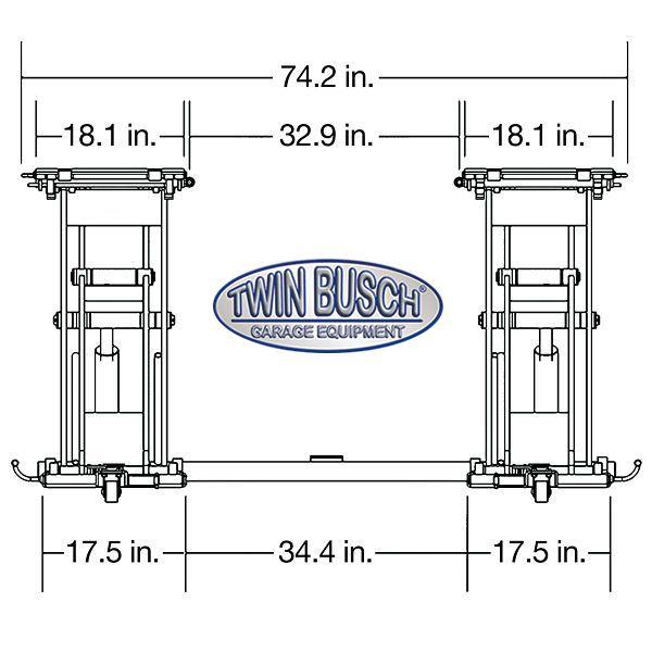 twin busch  u00ae midrise scissors lift 6600 lbs tw s3