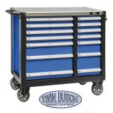 Filled tool trolley with 14 drawers